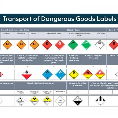 Transport of Dangerous Goods Labels Poster (A4 Landscape)