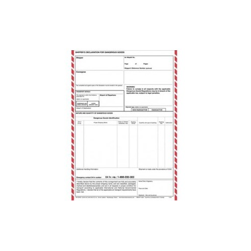IATA Shippers Declaration - Lined . Pack of 1000 A4 Sheets