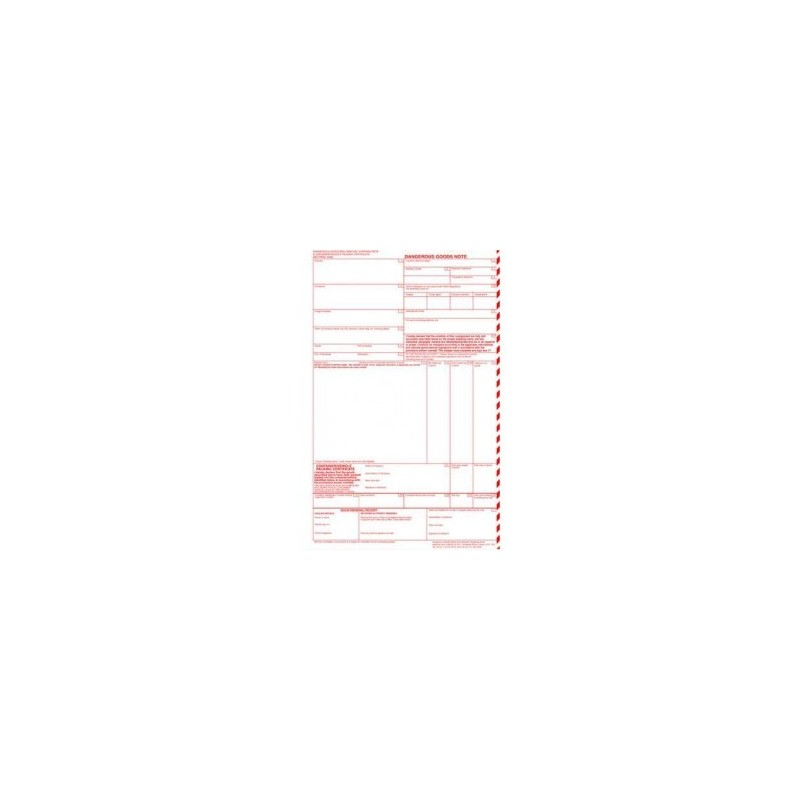 Dangerous Goods Note - Lined. Pack of 500 A4 Sheets